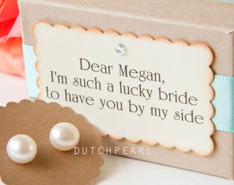 Bridesmaid gifts 4 sets personalized - Genuine pearl earrings gift box - wedding shower - wedding jewelry bridal bridesmaids