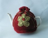 Red Tea Cosy with Gold Flower - Made to Order