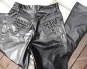 Black Vegan Leather Embellished Pants Size Small