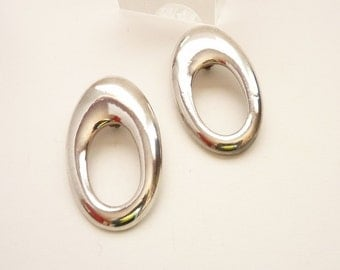 Vintage Silver Modernist Statement Earrings 3 Inches c. 1980s