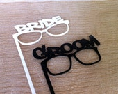 Thick ACRYLIC PHOTOBOOTH PROPS Bride and Groom Glasses Strong and Durable Acrylic Wedding Photo Booth Props Bride and Groom Gloasses
