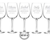 10 The Brides Squad ETCHED Wine Glasses Bridesmaids Favors Personalized Maid of Honor Gift Engraved Wine Glass Etched Wedding Party Gift