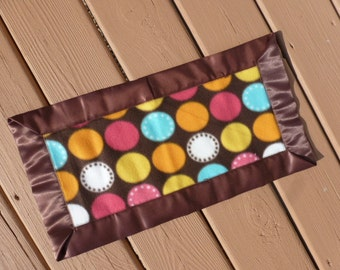 Lovey - Mini Blanket -  Pink, Yellow, and Blue Dots