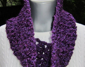 Purple Infinity Cowl, Soft Chunky Dark Purple Scarf, Small Amethyst Neckwear by Charlene, February Birthday Gift, Present for Grandma