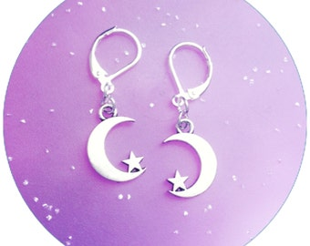 Moon and star crescent moon earrings
