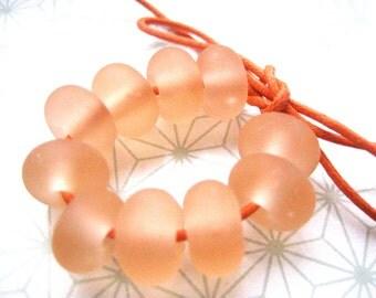 Peachy Keen Lampwork Spacer Beads, FHFteam, SRA, UK