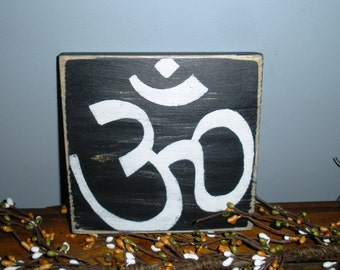 10x10 Om Namaste Symbol  (Choose Color) Rustic Shabby Chic Sign
