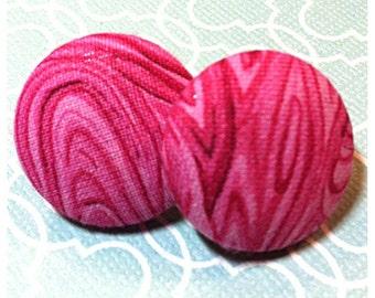 Pink Swirls Button Earrings