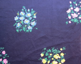 "50% OFF FABRIC SALE! 1940s 1950s Vintage Fabric - Yellow Pink Blue Flowers on Navy Blue - 31"" L x 40"" W"