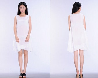 white cotton linen irregular hem dress