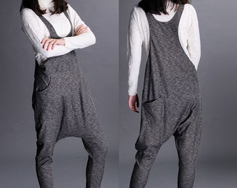 Dark grey harem pants cotton pants wide leg pants trousers