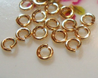14k GOLD Filled Jump Rings, Open Jumprings, Bulk 100 pcs, 3mm, 20.5 gauge ga, Strong Lock