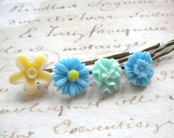 Turquoise Bobby Pin Gifts For Little Girl Robin Egg Blue Hair Accessories Flower Girl Gift Aqua Hair Pin Turquoise Bridesmaid Gift