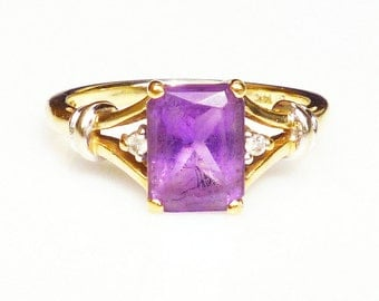 14K Gold Ring, Diamond Ring, Amethyst Ring, Gemstone Jewelry, Vintage Jewelry, February Birthstone