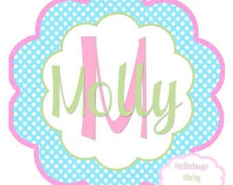 Pastels Initial IRON ON TRANSFER- Personalized Name Spring Pastels - Girl