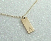 Gold Bar Necklace with Personalized Cursive Initial-Free US Shipping