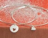 Bangle Bracelet Set, Sterling Silver Braclets,Mother Daughter Bracelets, Friendship Bracelets ,Adjustable Bangle