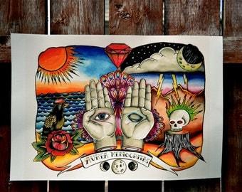 Traditional Tattoo Hamsa Print