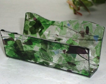 Fused Glass Business Card Holder -  Mostly Greens Blues and purples 0607