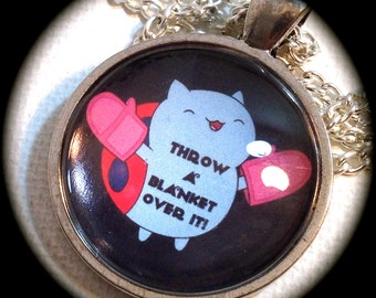 THROW a BLANKET Over it! . Glass Pendant Necklace . Bravest Warriors . CATBUG . GirlGameGeek