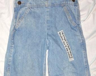 Vintage Wrangler Kids Size 4 Worn Blue Denim 22 X 14 Bib Youth Overalls  (Item Has 50 % OFF APPLIED)