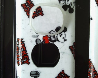Retro Red Black Gray Mickey Mouse Disney Outlet Cover Plate with Child Safety Plugs Switchplates to match in shop