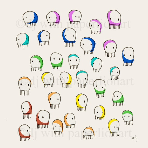 Jellyfish Rainbow Print 12x12