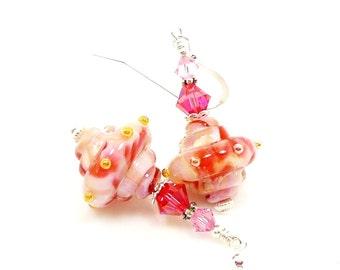 Pink Earrings, Lampwork Earrings, Glass Earrings, Glass Bead Earrings, Beadwork Earrings, Lampwork Jewelry, Unique Earrings, Baroque Earring