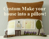 CUSTOMIZED House Pillow - Mother's Day - Gift for Mom - Housewarming Gift - Custom Home Decor - Custom Pillow of Your Home