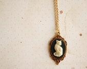 Small Cat Cameo Necklace Victorian Elegant Classic Lolita Aristocrat