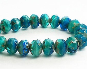Blue and Turquoise Picasso Czech Glass Beads 6 x 8mm Faceted Rondelles 10 Pcs. RON8-705