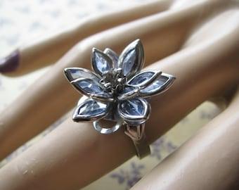 Blue Crystal Lotus Rings