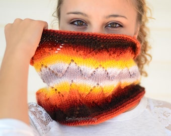 Infinity Cowl, Knit Scarf,Infinity Scarf,Chunky Cowl, Cowl, Chevron Knit, Neck Warmer,Ombre, Brown, Burnt Orange,Rusty,
