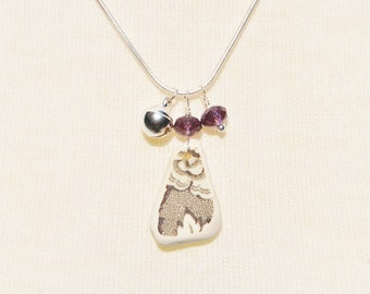 Singing Sea Glass Charm Necklace Surf Tumbled Pottery with Crystal and Bell 5176