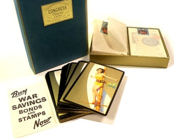 Authentic Vintage 1940s risque Pin Up Girl Double Deck Playing Cards Never Used