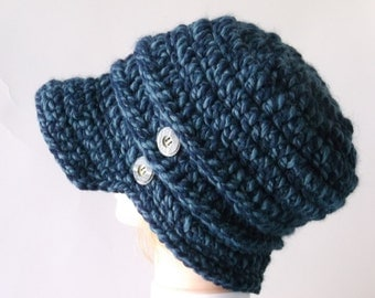 Denim Twist Hat, Newsboy Slouchy Hat, Thick Chunky Style Hat