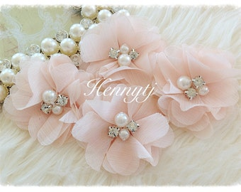 4 pcs Aubrey PALE APRICOT - Soft Chiffon with pearls and rhinestones Mesh Layered Small Fabric Flowers, Hair accessories