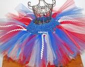 4th of July Tutu with Ric Rac and Ribbon Patriotic Tutu Red White Blue,girls tutu,flower girl tutu, birthday tutu, wedding tutu,newborn tutu
