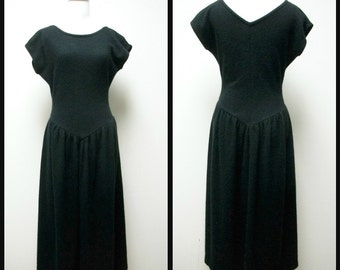 VINTAGE 80s MADEMOISELLE BEBEL Black Wool Angora Knit Drop Waist Dress Size S