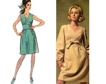 Simplicity 7990 Midriff Panel V Neck Dress 60s Designer MOD Vintage Sewing pattern  Size 12 Bust 34 inches MOD Mad Men 60s fashion