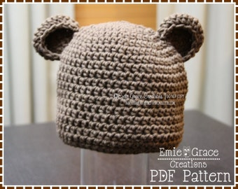 Bear Hat Crochet Pattern, 8 Sizes from Newborn to Adult, EMIE and THEODORE BEAR - pdf 123