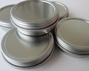 Ten 1 oz Metal Lip Balm Containers- Screwtop- FREE SHIPPING
