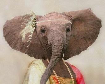 "Eleanor the Elegant Elephant - Fine Art Print 8"" X 10"""
