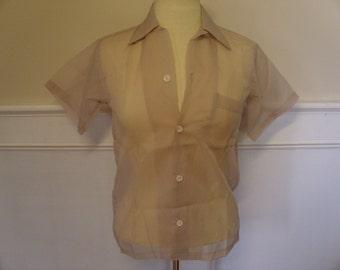 Vintage 1950's Sheer Nylon Blouse  Deadstock