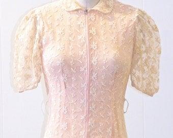 1930s 40s Dress, 30s Lace Dress, Vintage Dressing Gown, XS - S
