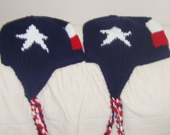 Two Texas Flag Hats in Blue, Red White Hand Knit Hat set of 2 Hats Texan Best Friends Gift Him and Her
