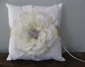 White Wedding Ring Bearer Pillow with Large White Open Rose Champagne Ribbon with Rhinestone Center Can Customize