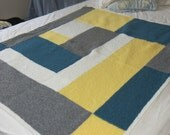 Hand Knit Modern Log Cabin Baby \ Lap blanket in Yellow, Teal, Grey and White with flecks 25% wool 40 X 48 inch