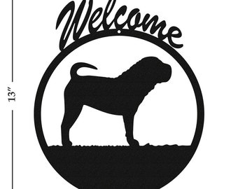 Dog Shar Pei Black Metal Welcome Sign
