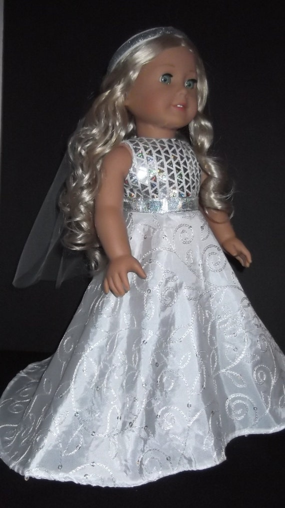 American girl doll clothes wedding gown and veil 257 for American girl wedding dress